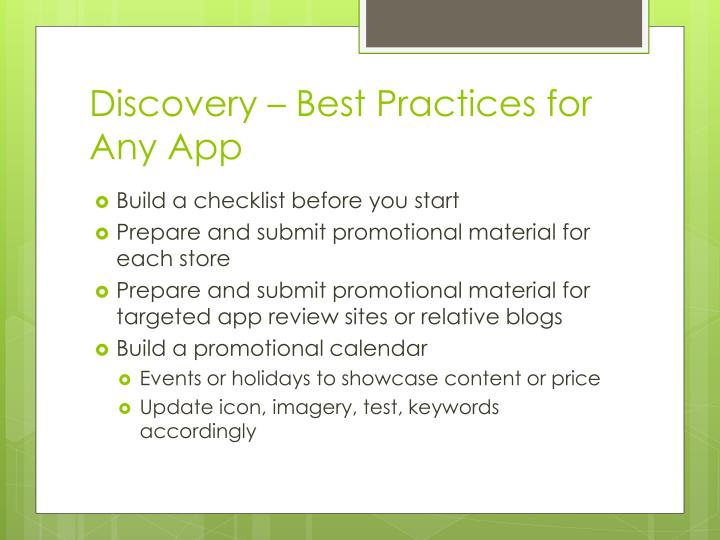 Discovery – Best Practices for Any App