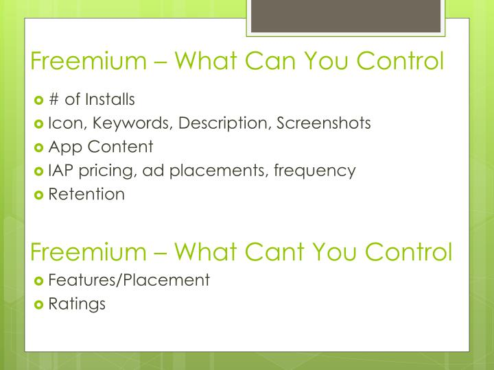 Freemium – What Can You Control