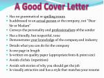 a good cover letter