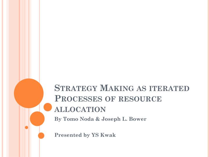 strategy making as iterated processes of resource allocation n.