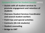 assistant director for student success adss