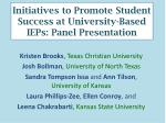 initiatives to promote student success at university based ieps panel presentation