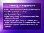 planning for registration