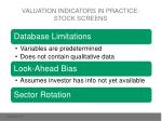 valuation indicators in practice stock screens
