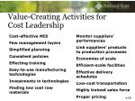 value creating activities for cost leadership