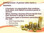 entrepreneur a person who starts a business