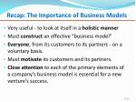 recap the importance of business models