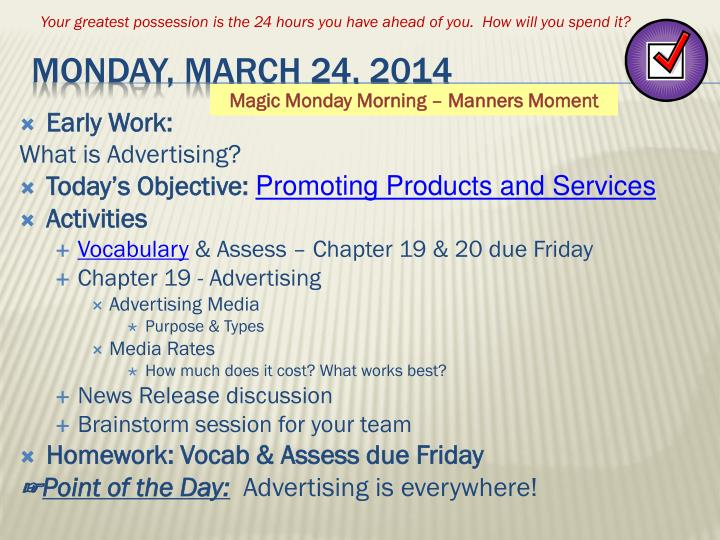 Monday march 24 2014
