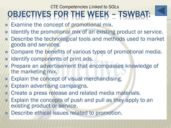 Examine the concept of promotional mix.