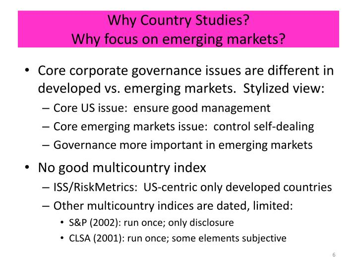 corporate governance reforms in emerging countries In the context of countries making the transition from centrally -planned to market economies, corporate governance must respond to the needs of the different stages of reform in many transition countries, weak corporate governance has been blamed for the delay in restructuring after privatisation.