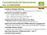 commitments achievements all completed