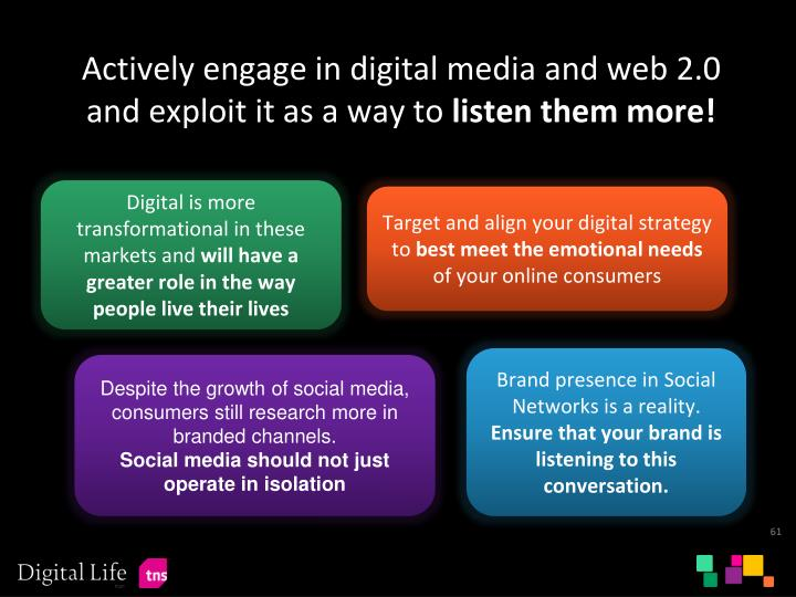 Actively engage in digital media and web 2.0