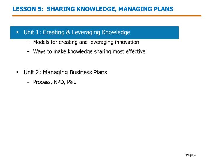 Lesson 5 sharing knowledge managing plans
