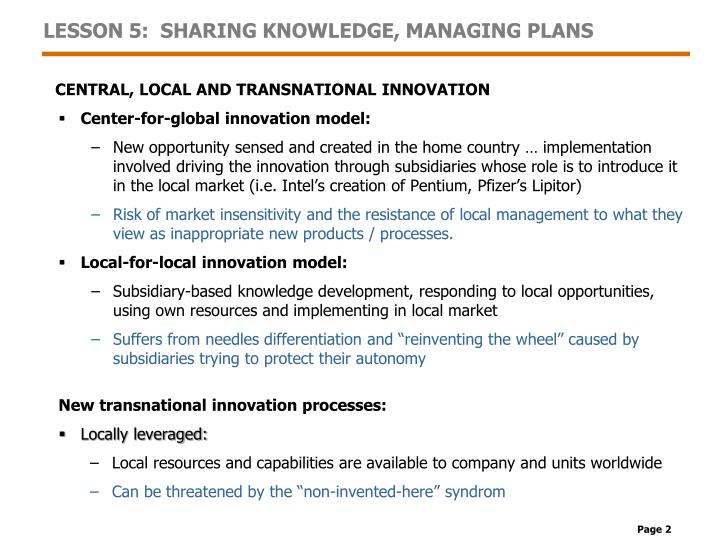 Lesson 5 sharing knowledge managing plans1