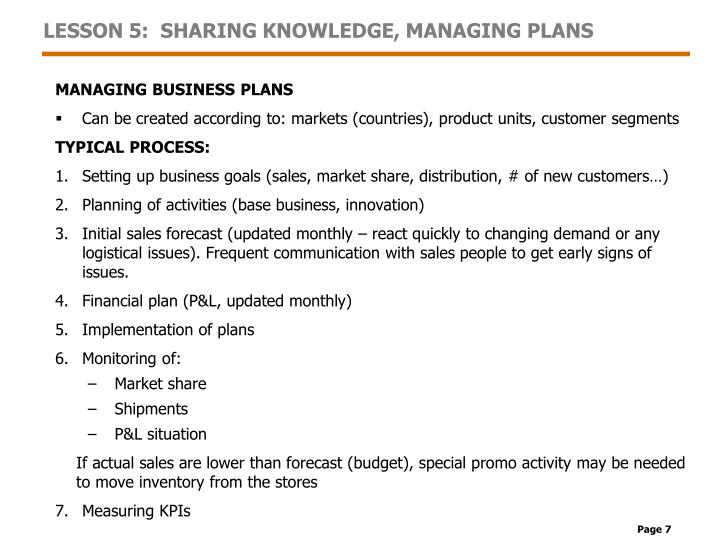 LESSON 5:  SHARING KNOWLEDGE, MANAGING PLANS