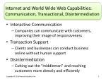 internet and world wide web capabilities communication transactional disintermediation