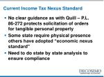 current income tax nexus standard