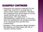 oligopoly continued