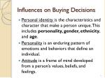 influences on buying decisions
