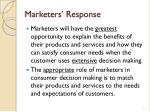 marketers response