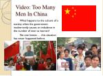 video too many men in china