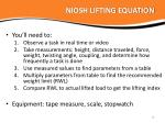 niosh lifting equation1