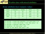 weather data with mixed attributes