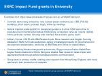 esrc impact fund grants in university