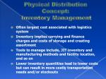 physical distribution concept inventory management