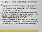 changing the view and sorting the contact list