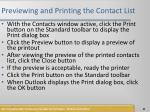 previewing and printing the contact list