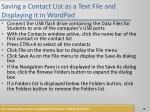 saving a contact list as a text file and displaying it in wordpad1