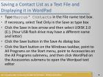 saving a contact list as a text file and displaying it in wordpad3
