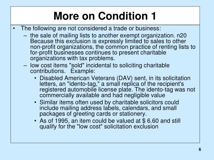 More on Condition 1