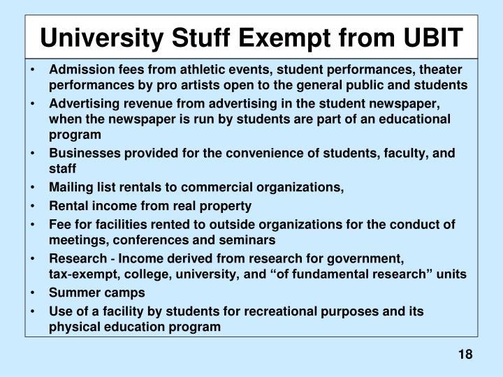 University Stuff Exempt from UBIT