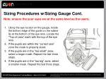 sizing procedures w sizing gauge cont