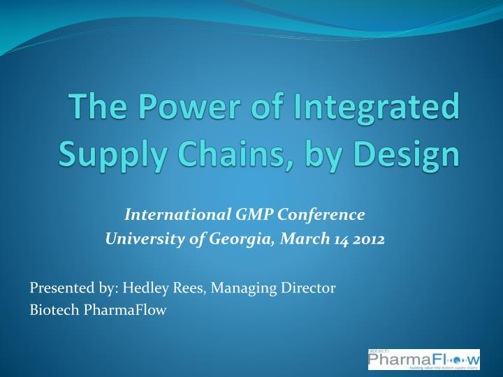 the power of integrated supply chains by design n.