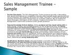 sales management trainee sample