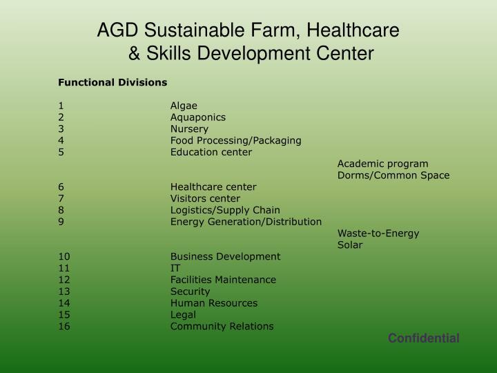 AGD Sustainable Farm, Healthcare