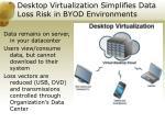 desktop virtualization simplifies data loss risk in byod environments