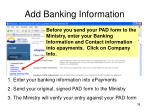 add banking information
