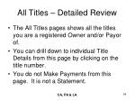 all titles detailed review