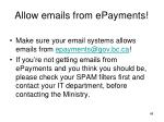 allow emails from epayments