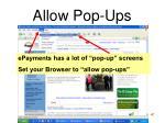 allow pop ups