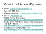contact us access epayments