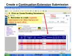 create a continuation extension submission1