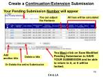 create a continuation extension submission2
