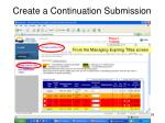 create a continuation submission