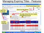 managing expiring titles features