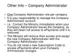 other info company administrator